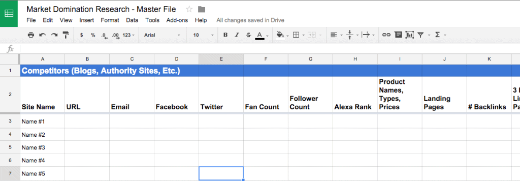 One of the many sheets in the research master file spreadsheet. The idea is that you're going to be constantly adding new entries to this master file over time.