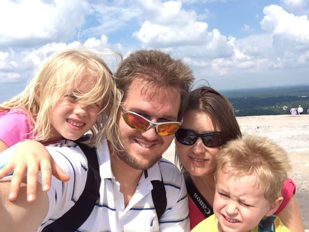 The family up on top of Stone Mountain on our way north.