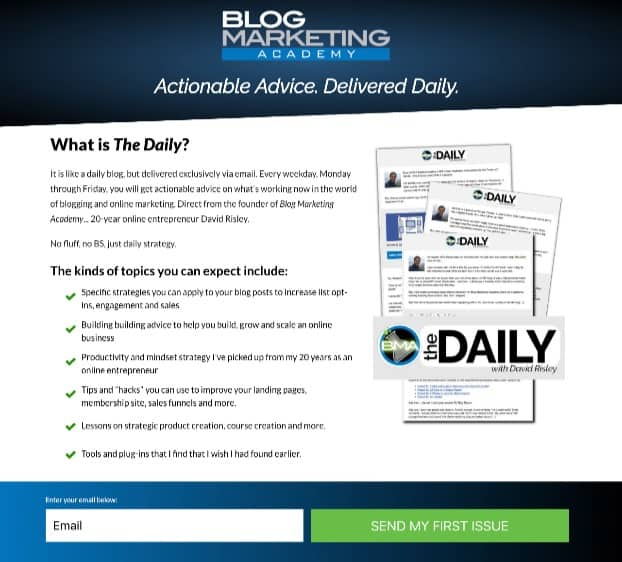 Blog Marketing Academy - Daily Landing Page
