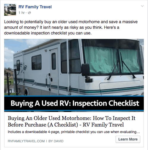 facebook ad to get more blog traffic
