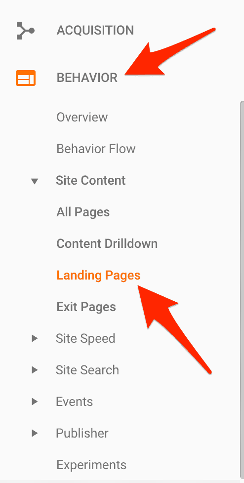 google analytics top landing pages