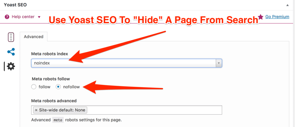 Yoast SEO hide page from search