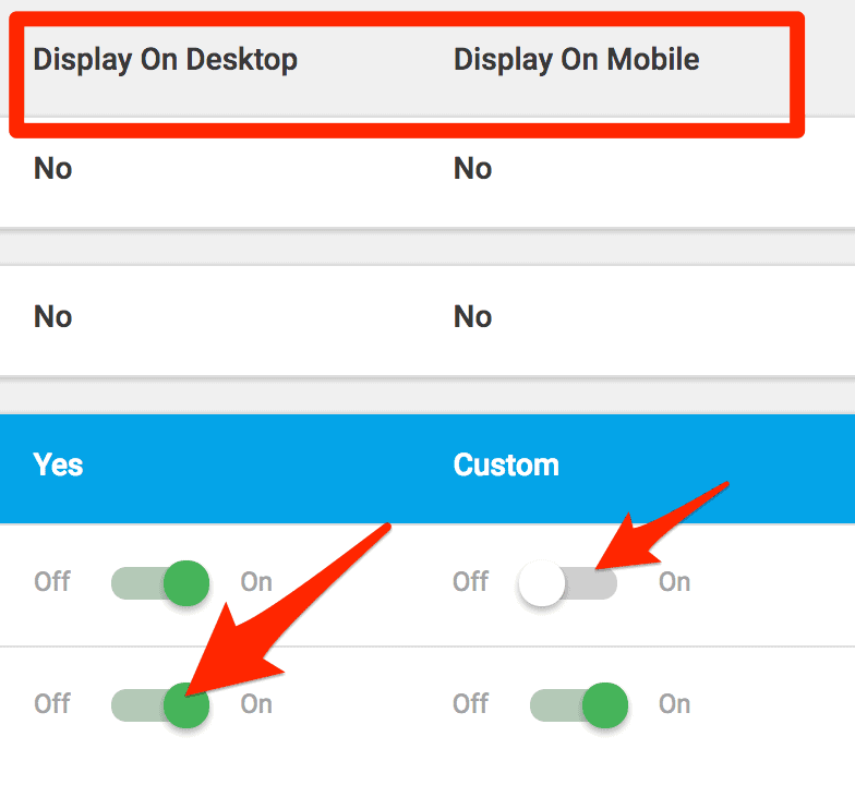thrive leads display settings