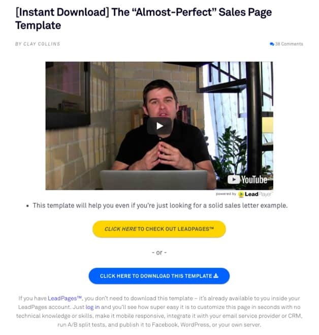 sell without selling - leadpages example